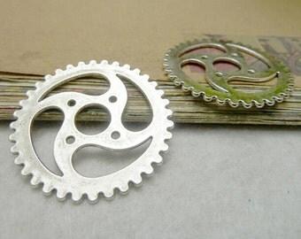 5pcs 40mm Wheel Gear Charms Silver Tone Small Size Gear Shape Pendants