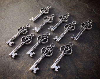 10pcs Silver Tone Skeleton KEY Charms 29x10mm