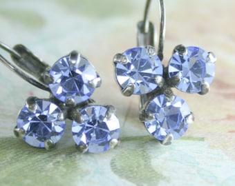 blue crystal earrings,crystal leverback earrings,swarovski earrings,blue sapphire earrings,blue bridesmaid earrings,periwinkle blue,sapphire