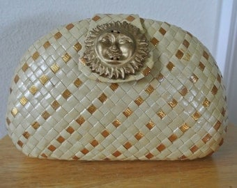 1950s Basket Woven Clutch Case Gold Metallic Lacquered Straw Sun Face Silk Strap
