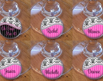 SALE! Wine Charms - Set of 6 - Diamond Damask - Birthday Party Wine Charms - Birthday Wine Charms