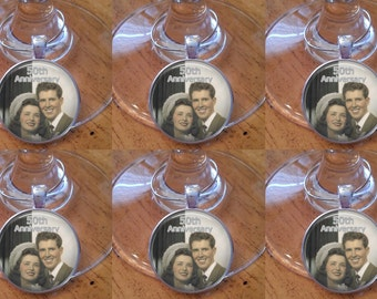 SALE! Anniversary Wine Charms - Set of 6 - Happy Anniversary with Photo - Anniversary Party Wine Charms