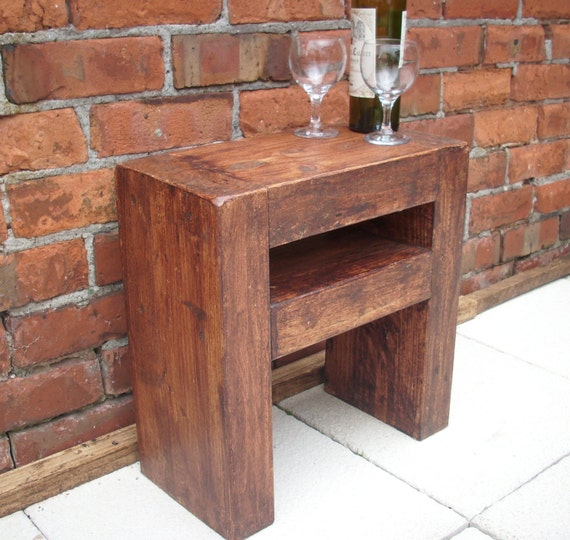 Lovely slim chunky rustic side table or bedside table for Slim side table