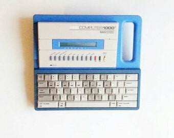 Vintage 1988 VTech Pre Computer 1000 Blue with AC Adapter and Handle