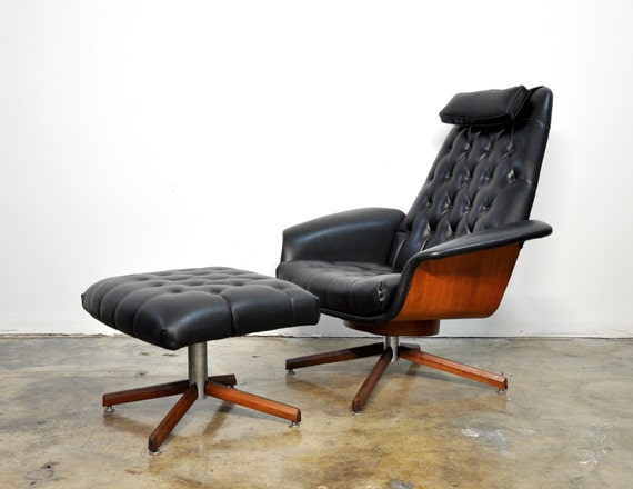 MidCentury Modern Eames Style Lounge Mr Chair Ottoman by – Eames Like Chair
