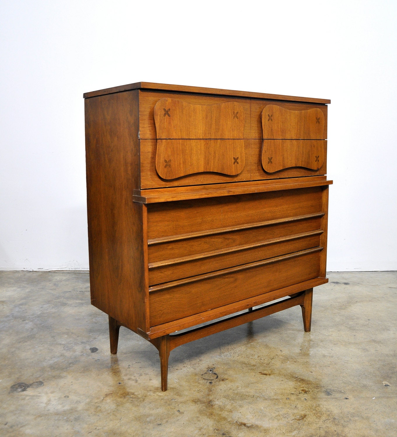 mid century modern highboy dresser walnut gentleman