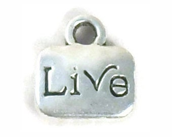 15 Live Affirmation Charm Pendant for Inspirational Jewelry 11x10mm by TIJC SP0954