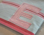 Pink and Blue Striped Monogrammed E Zipper Pouch