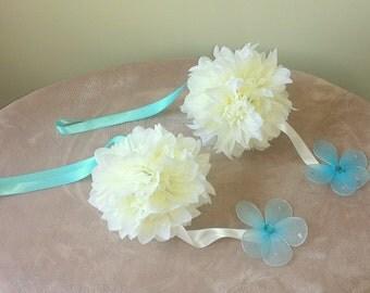 Wedding kissing balls, Ivory Kissing Ball,Flower Ball,Bridal Pomander,Wedding Pomander,Light Blue Pomander,Flower Girl Pomander