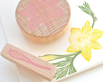 Daffodil Flower Stamp Set - Hand Carved Rubber Stamps by Little Stamp Store