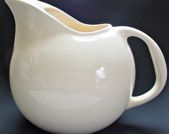 Vintage Ball Pitcher, Cream Colored Ball Pitcher, Round Ceramic Pitcher, Hall inspired Ball Pitcher, 6 PTS Ball Pitcher