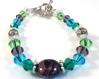 Violet Purple, Light Green and Aqua Blue Women's stackable bracelet, stacking bracelet, statement bracelet, beaded bracelet