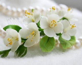 Bridal flower comb - Spring blossom hair comb - Wedding flower comb - Jasmine blossom comb. Flower comb. Bridal comb. Flower hair accessory