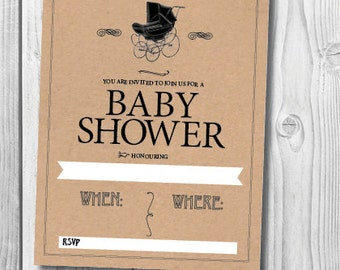 Baby Shower Pram Invitation Instant Download DIY Printable for 'Vintage Pram Baby Shower