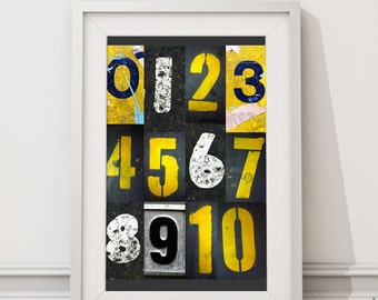 Instant Download Printable - Wall Art print - Instant Download 'Industrial Numbers' Print for your wall.