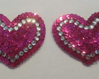Heart Pasties - Sequin and Rhinestone Design