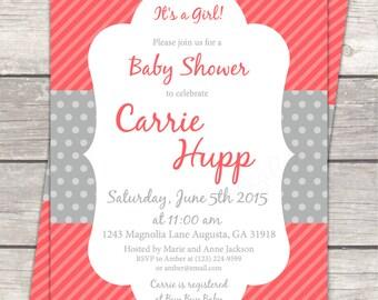 Printable Baby Girl Shower invitation in coral pink gray polka dots, custom digital invitation files