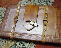 Handmade Large Leather Journal/Sketchbook (Tree of life) Lockable