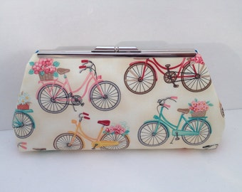 Vintage Look Bicycle Print Clutch Purse with Nickel/Silver Finish Snap Close Frame