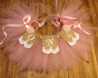 Baby's First Birthday High Chair Pink Tutu Garland and Banner; Shabby Chic, Burlap, Lace and Ribbon, Banner tutu, Baby, Photo Prop, One