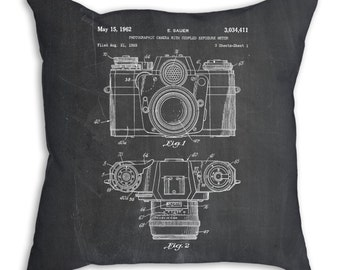 Camera Pillow, Camera Throw Pillow, Decorative Pillows, Decorative Throw Pillows 18x18, PP0006