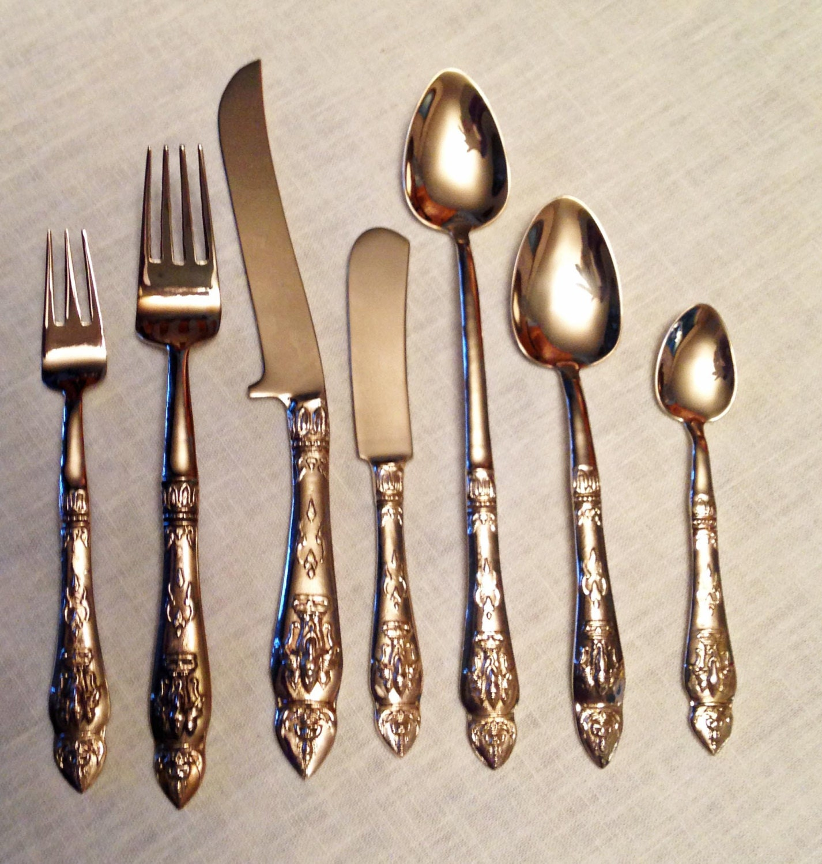 Polished vintage 96 pieces for 12 of siam thai bronze brass - Thailand silverware ...