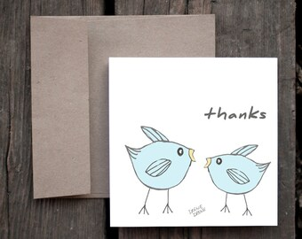Thanks! Thank You card with Illustrated Whimsical Funny Cute Blue Birds