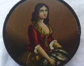 Antique Victorian Paper Mache Snuff Box Collectible 2