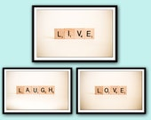 Printable Art Set, Live Love Laugh Word Art, Instant Download Printable Art, Wall Words, Printable Wall Decor, Home Decor, Scrabble Gift