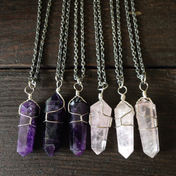 Amethyst or Quartz Crystal pendant Silver necklace, Wire wrapped Crystal,  Wire Wrap Stone necklace, For her