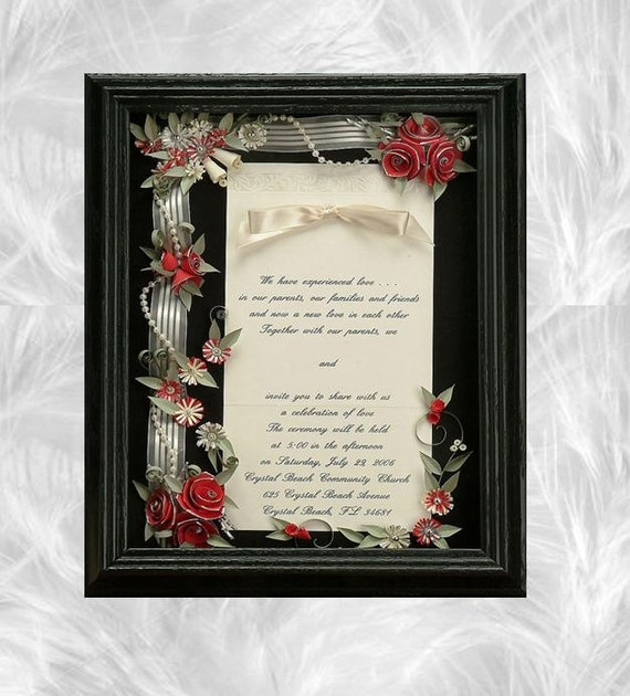 framed wedding invitation wedding shadow box wedding gift, Wedding invitations