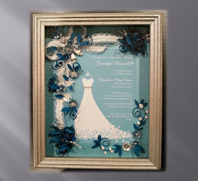 Wedding Gift Framed Art : Framed Bridal Shower Invitation Custom Bridal Gift Teal