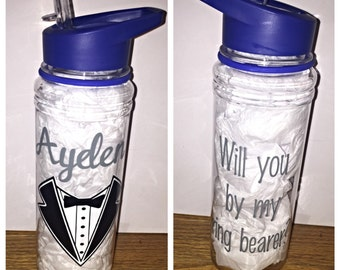 Will you be my ring bearer - Water Bottle
