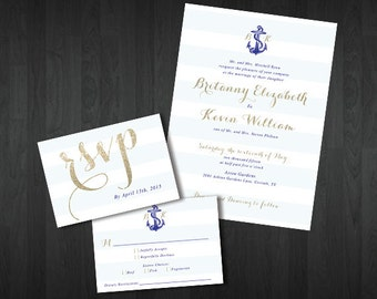 Customized Printable Nautical Stripes Wedding Invitation