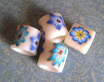 Blue Meadow Flowers Dread Bead