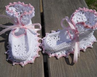 Crochet Baby Booties, Baby Booties, White Baby Booties, Pink Baby Booties, Beaded Baby Booties