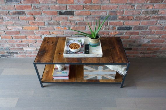 Items Similar To Coffee Table Reclaimed Barn Board Wood 39 Camden 39 Range Hand Made Steel Frame