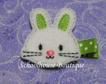 Lime Green Easter Bunny Rabbit Felt Hair Clips, Easter Basket Filler,Feltie hair clip, Feltie, Felt Hair Clippie,Felt Hair Bow