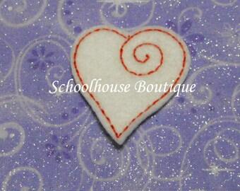 Elegant Heart Valentine felties, feltie, machine embroidered, felt applique, hairbow center, felt embellishment