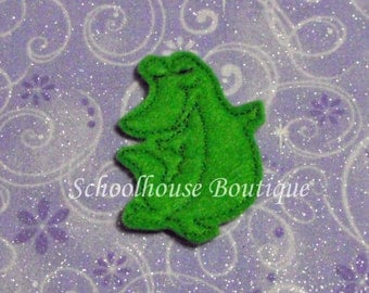 Standing Alligator felties, feltie, machine embroidered, felt applique, felt embellishment, hair bow supplies