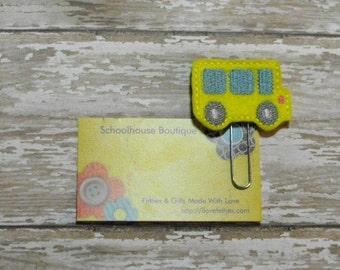 School Bus felt Paperclip bookmark, felt bookmark, paperclip bookmark, feltie paperclip, christmas gift, teacher gift