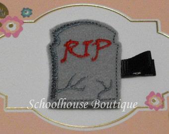 RIP Tombstone Gravestone Felt Hair Clip with your choice of ribbon color,Felties,Feltie Hair Clip,Felt Hairbow,Felt Hair Clippie,Party Favor