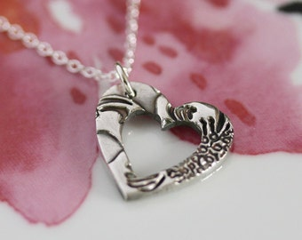 Handmade silver necklace, silver heart necklace, Heart necklace, Small heart necklace, simple silver necklace, simple jewelry