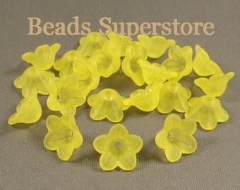 SALE 13 mm x 7 mm Yellow Lucite Flower Bead - 20 pcs