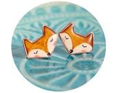 Fox stud earrings, kawaii fox jewelry, red orange cute fox earrings, resin jewelry with silver 925 studs