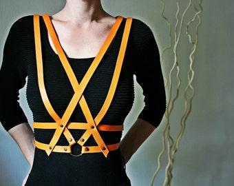 Designer orange leather shoulder style belt