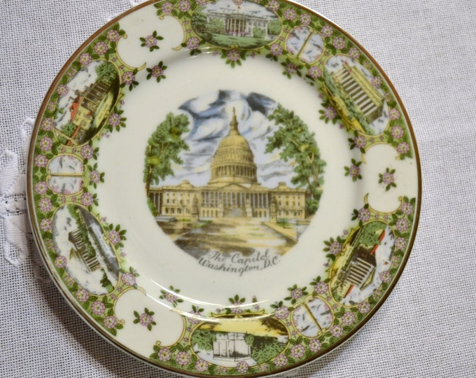 Vintage Travel Souvenir Decorative Plate Washington DC The Capitol Silberne Panchosporch