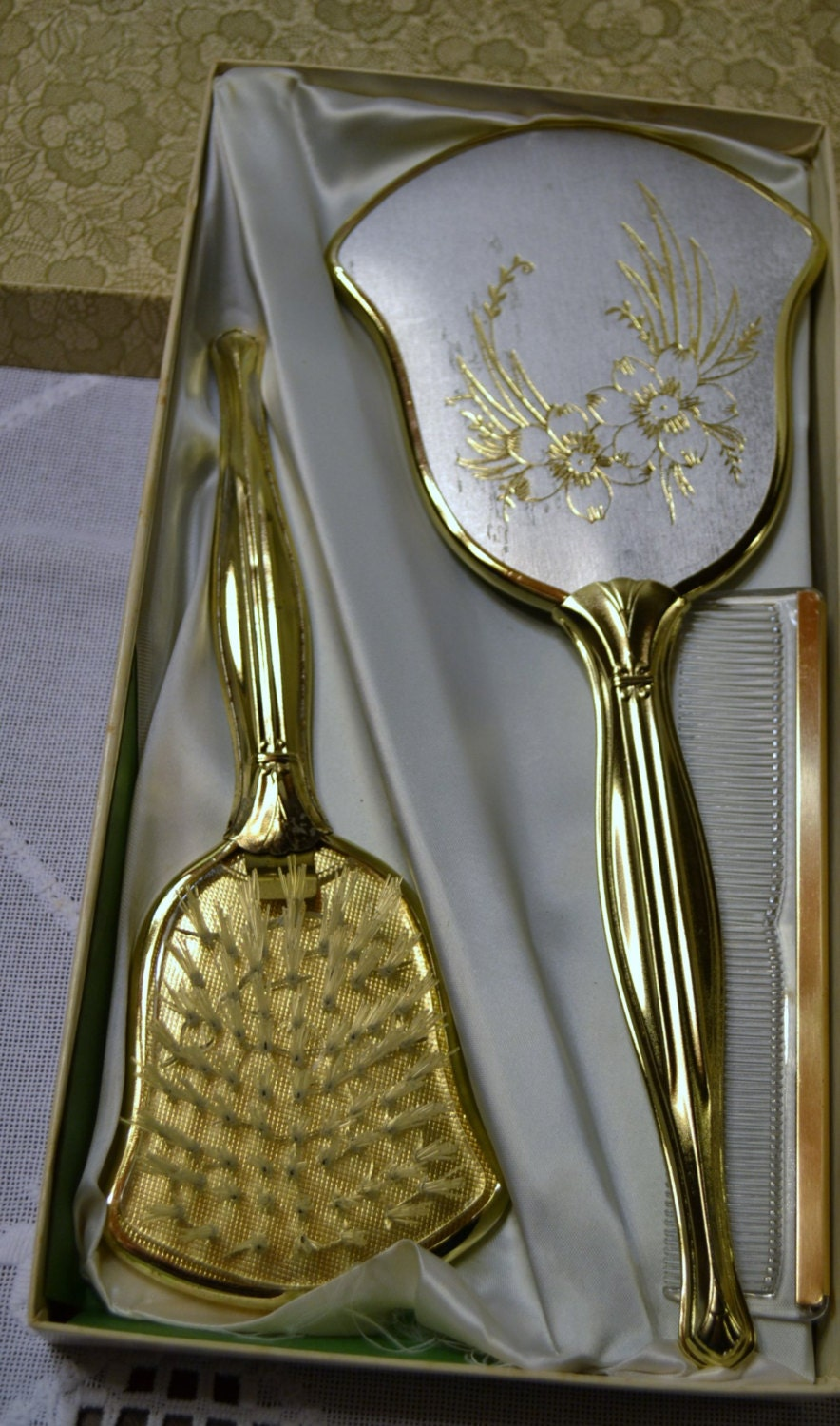 vintage vanity set mirror brush comb in box gold silver tone 87983