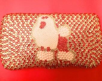 Pink Poodle Rhinestone Diaper Wipe Case, standard poodle