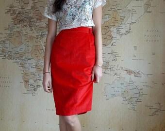 High Waisted Skirt, Red Cord Skirt, Midi Skirt, 80s Vintage Red Skirt, Women's Midi Skirt, Pencil Skirt, Red High Waisted Cord Midi Skirt